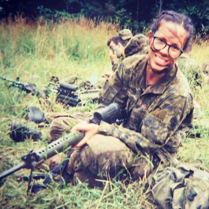 Photo of lawyer and military reserve member Afton Maisonneuve in her fatigues