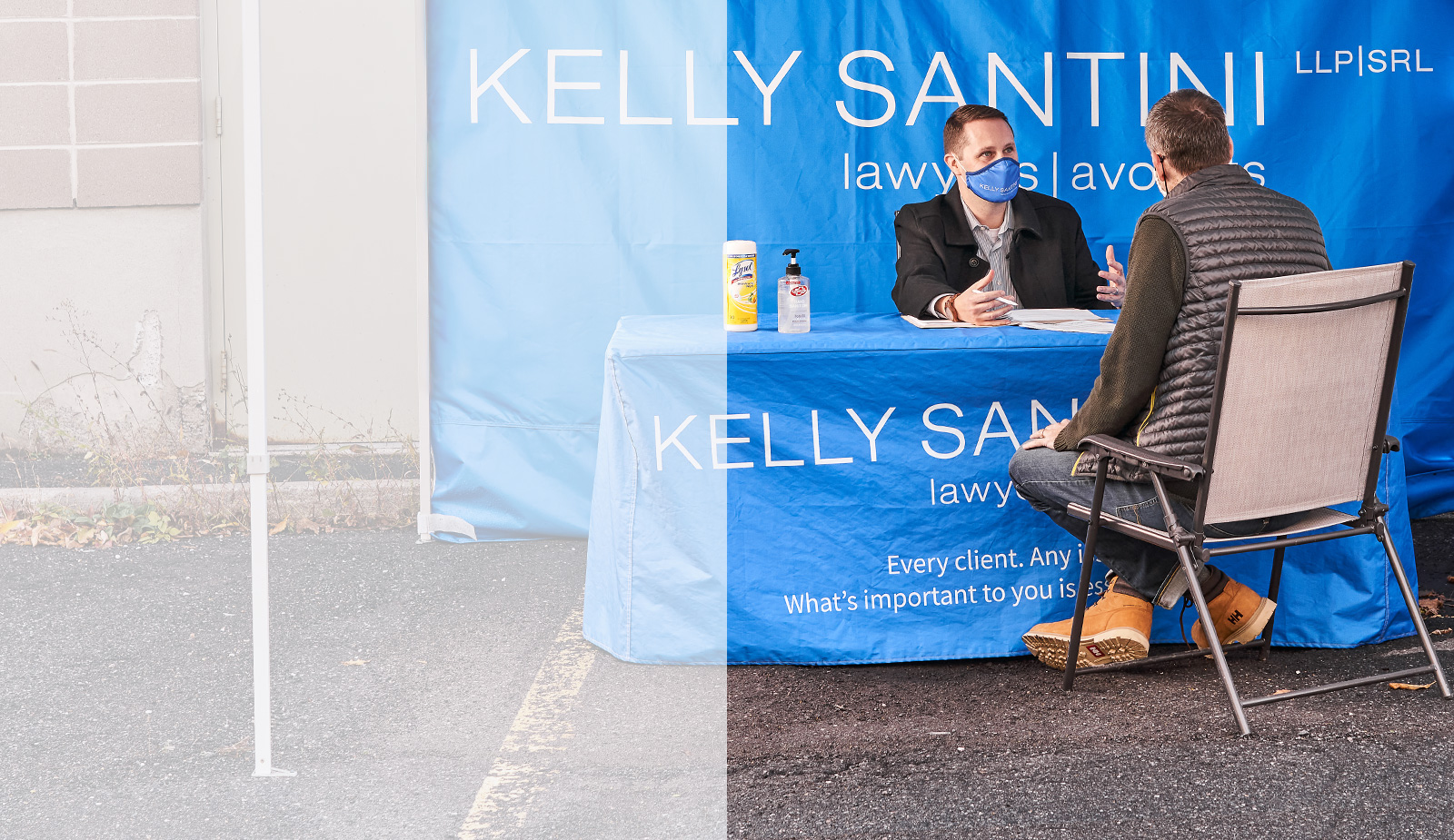Lawyer Zachary Gaulin serves a client at Kelly Santini's drive in service on Carling Ave, Ottawa.