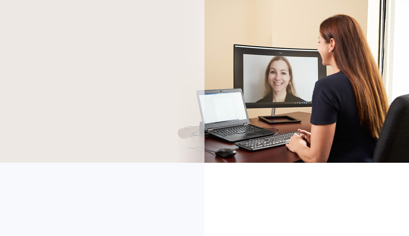 Lawyers Lisa Langevin and Zoriana Priadka holding an online meeting