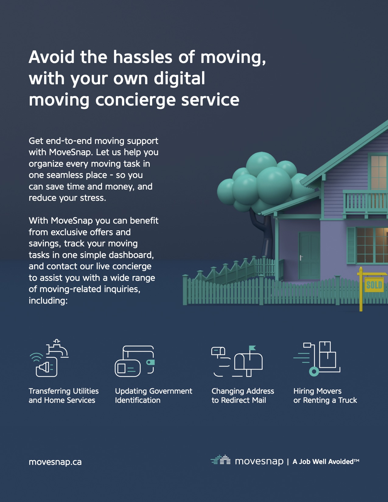 Poster explaining how MoveSnap helps people when they are moving house.