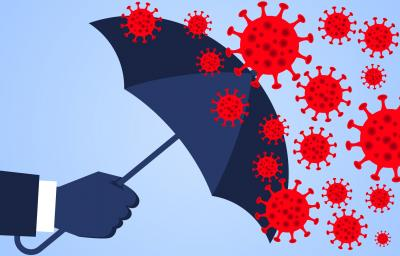 Illustration of hand holding umbrella stopping the corona virus